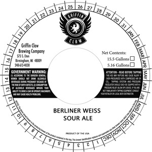 Griffin Claw Brewing Company Berliner Weiss Sour