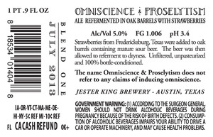 Jester King Brewery Omniscience & Proselytism