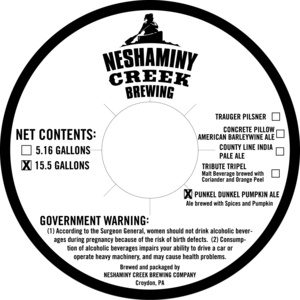 Neshaminy Creek Brewing Punkel Dunkel Pumpkin Ale