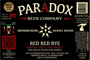 Paradox Beer Company Inc Red Red Rye