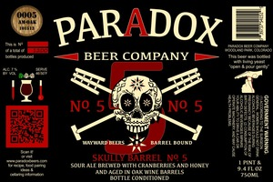 Paradox Beer Company Inc Skully Barrel No. 5