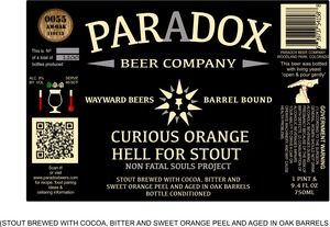 Paradox Beer Company Inc Curious Orange Hell For Stout