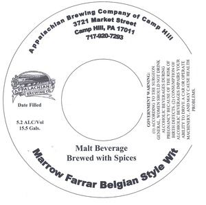 Appalachian Brewing Co Marrow Farrar Belgian Style Wit
