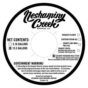 Neshaminy Creek Brewing Company Coconut Mudbank Milk Stout