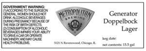 Metropolitan Brewing Doppelbock Lager