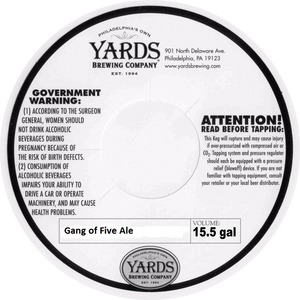 Yards Brewing Company Gang Of Five Ale