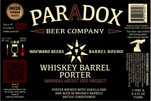 Paradox Beer Company Inc Whiskey Barrel Porter