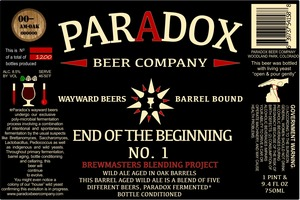 Paradox Beer Company Inc End Of The Begnning No1