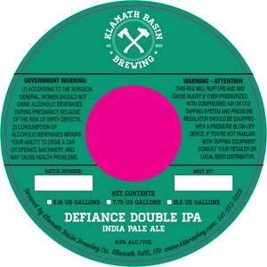 Klamath Basin Brewing Co. Defiance Double IPA