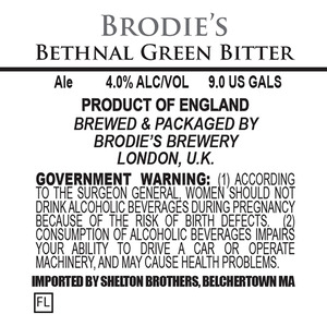 Brodie's Brewery Bethnal Green Bitter