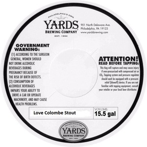 Yards Brewing Company Love Colombe Stout