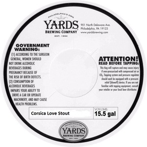 Yards Brewing Company Corsica Love Stout