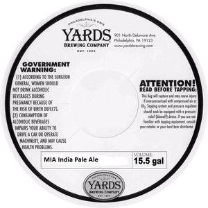 Yards Brewing Company Mia India Pale Ale