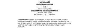 Saint Arnold Brewing Company Divine Reserve