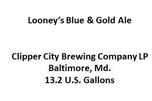 Clipper City Brewing Company Looney's Blue & Gold