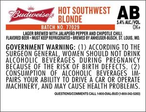 Budweiser Hot Southwest Blonde