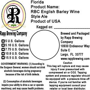 Rapp Brewing Company Rbc English Barley Wine