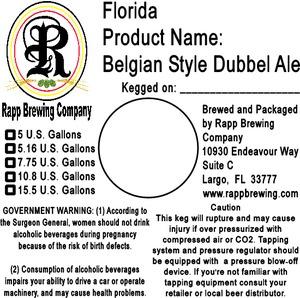 Rapp Brewing Company Belgian Style Dubbel