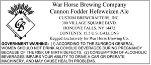 War Horse Brewing Company Cannon Fodder