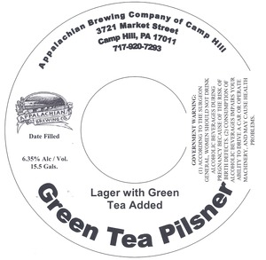 Appalachian Brewing Co Green Teas Pilsner