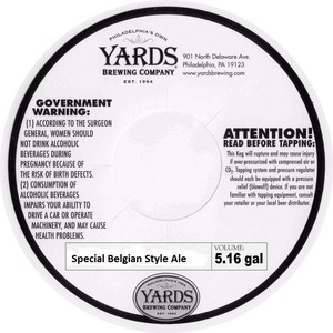 Yards Brewing Company Special Belgian Styel Ale