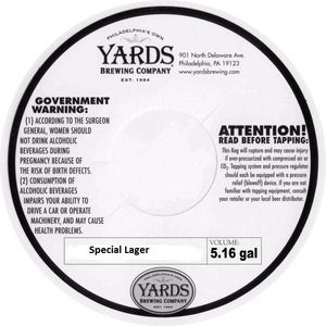 Yards Brewing Company Special Lager