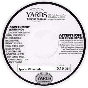 Yards Brewing Company Special Wheat Ale