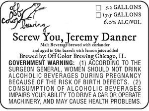 Off Color Brewing Screw You, Jeremy Danner
