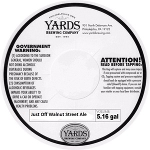 Yards Brewing Company Just Off Walnut Street Ale