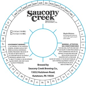 Saucony Creek Brewing Company Maple Mistress