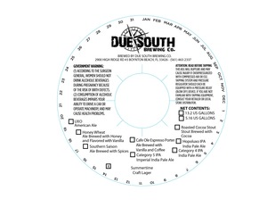Due South Brewing Co. Summertime Craft Lager April 2014