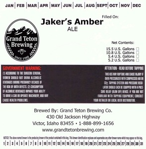Grand Teton Brewing Company Jakers Amber