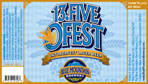 Blue Mountain Brewery 13.5 Ofest