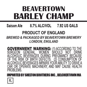 Beavertown Brewery Barley Champ