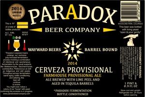 Paradox Beer Company Inc Cerveza Provisional