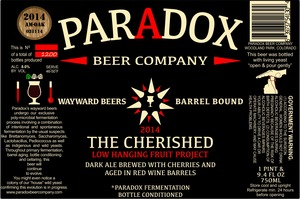 Paradox Beer Company Inc The Cherished
