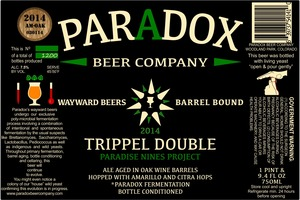Paradox Beer Company Inc The Trippel Double