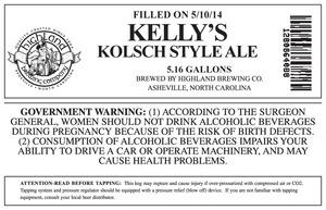 Highland Brewing Co. Kelly's Kolsch