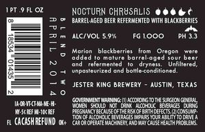Jester King Brewery Nocturn Chrysalis
