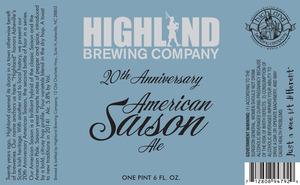 Highland Brewing Co. 20th Anniversary American Saison