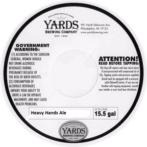 Yards Brewing Company Heavy Hands Ale