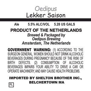 Oedipus Brewing Lekker Saison June 2014
