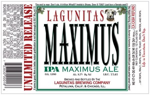 The Lagunitas Brewing Company Maximus IPA