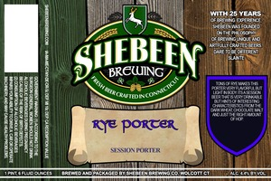 Shebeen Brewing Company Rye Porter