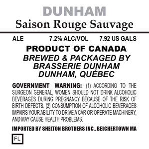 Basserie Dunham Saison Rouge Sauvage