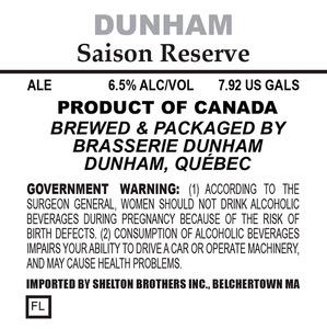 Brasserie Dunham Saison Reserve