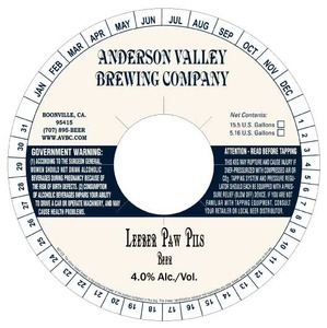 Anderson Valley Brewing Company Leeber Paw Pils