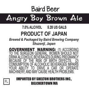 Baird Brewing Company Angry Boy Brown Ale