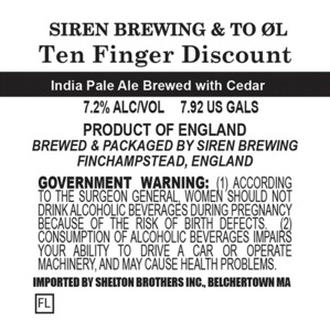 Siren Brewing Ten Finger Discount