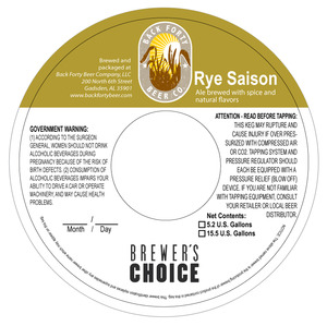 Back Forty Beer Company Rye Saison